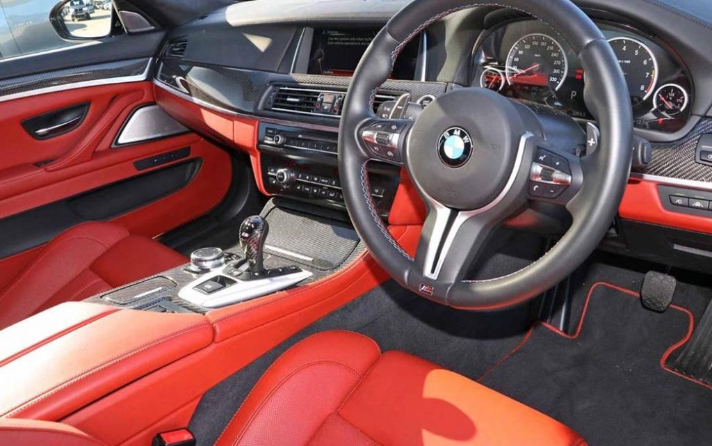 BMW M5 Nighthawk Interior with Red Leather and Black Steering Wheel