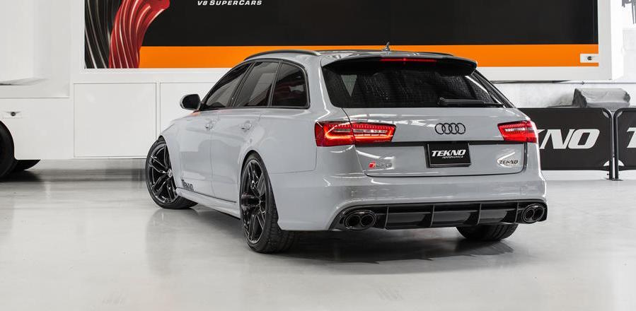 Nardo Grey Audi RS6 with modified exhaust rear photo