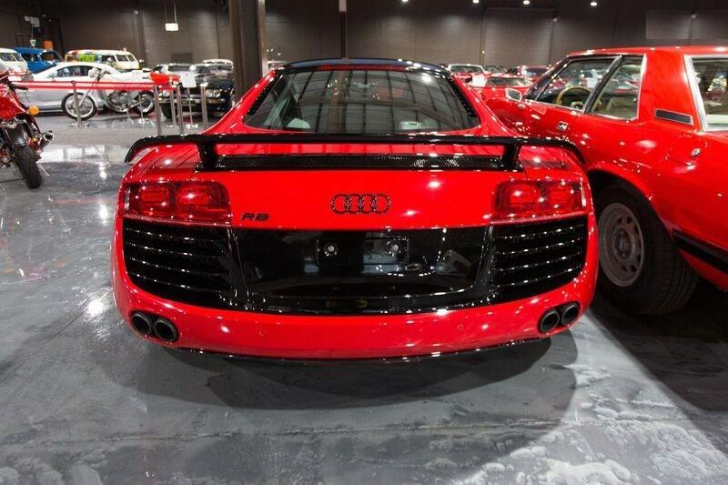 Audi R8 in Red at Gosford Classic Car Museum Rear Angle