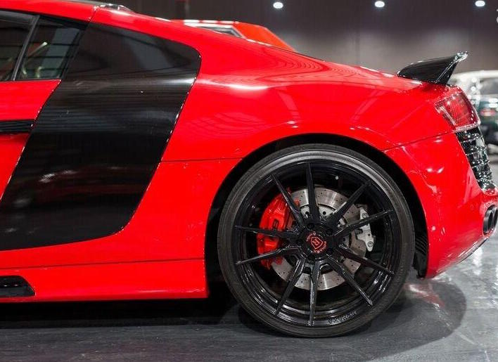 Audi R8 in Red at Gosford Classic Car Museum black alloys with red callipers