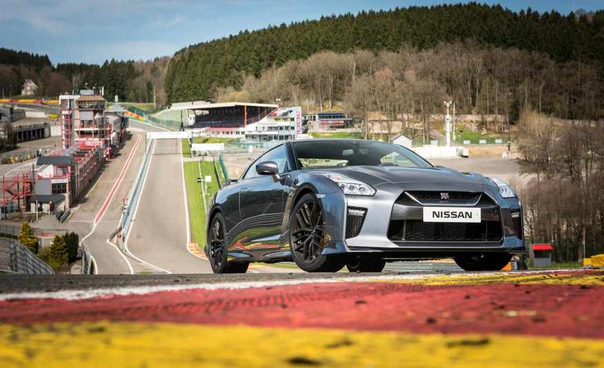 Grey 2017 Nissan GT-R parked on race track
