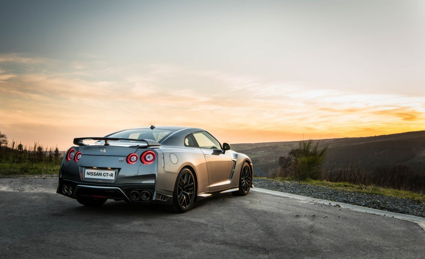 Grey 2017 Nissan GT-R at mountain lookout