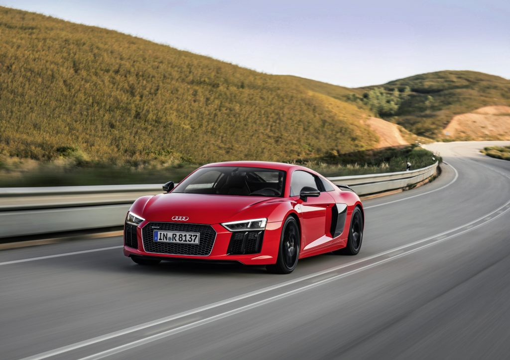 Catalunya Red Audi R8 V10 plus Driving on Open Road