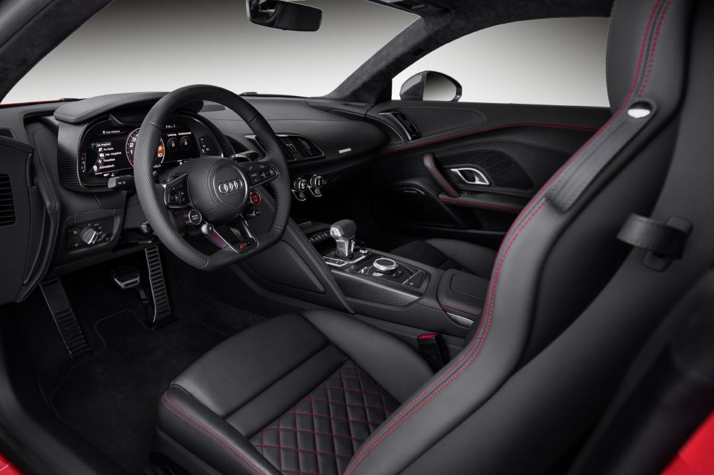 Catalunya Red Audi R8 V10 plus with black leather interior