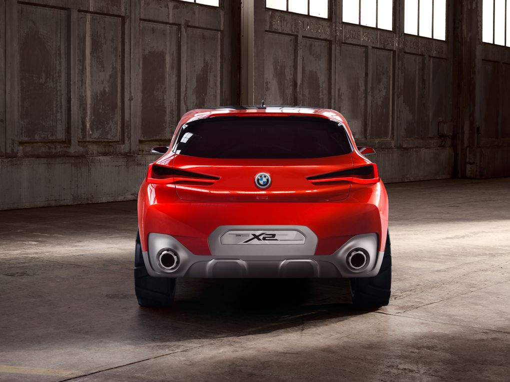 Red 2018 BMW X2 with twin exhaust