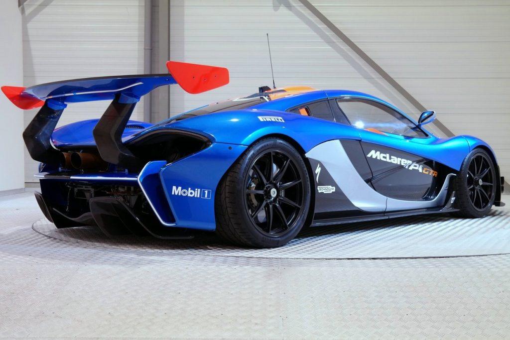 Mclaren P1 GTR in Blue Rear Angle