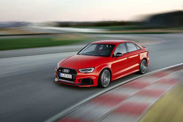catalunya red Audi RS3 Sedan fast cornering on race track
