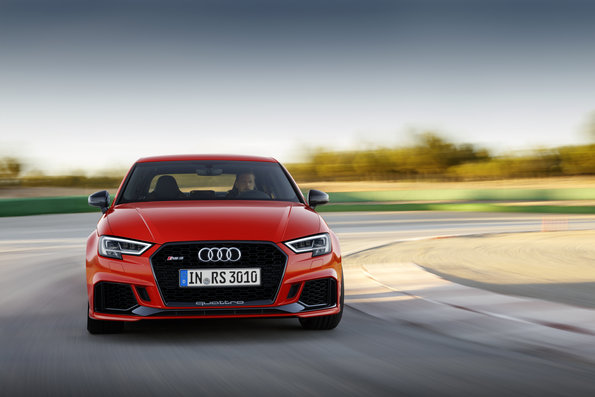 catalunya red Audi RS3 Sedan being driven on race track