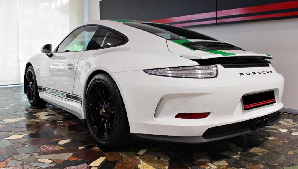 Porsche 911 R White with Green Stripes and Clear LED Tail lights