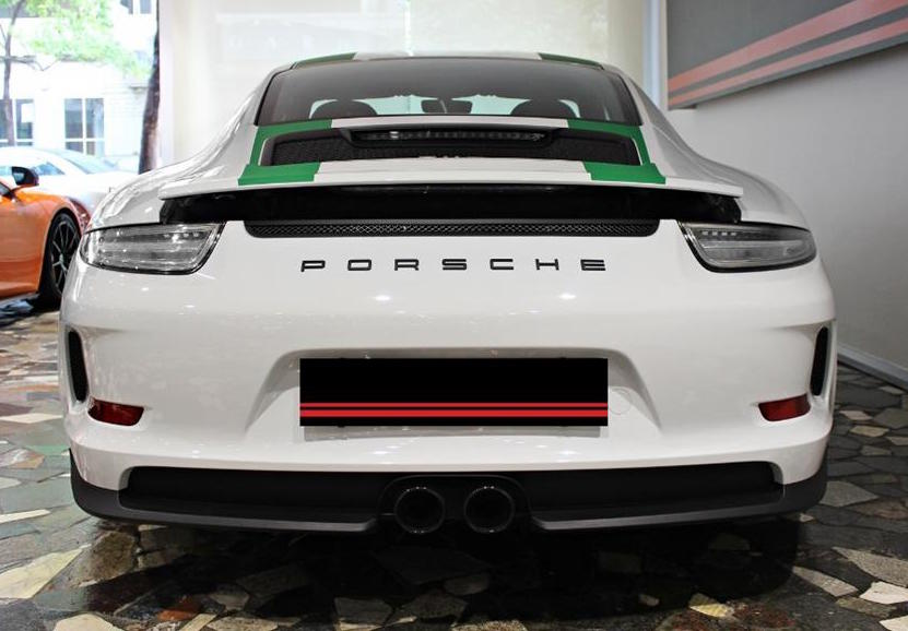 Porsche 911 R White with Green Stripes with Black Badge