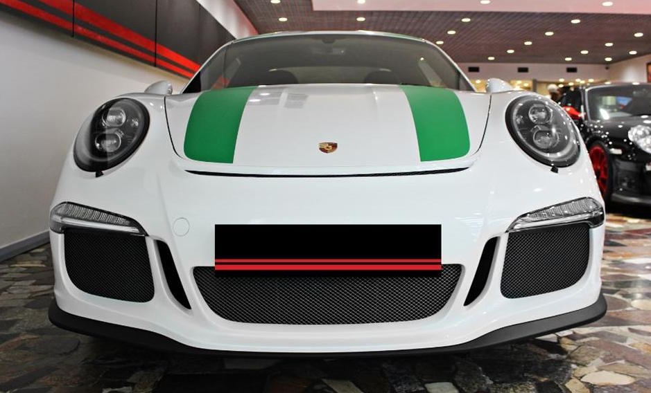 Porsche 911 R White with Green Stripes Front Angle