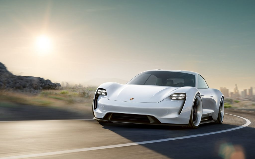 Concept Porsche Mission E Driving on Digitally Generated Road