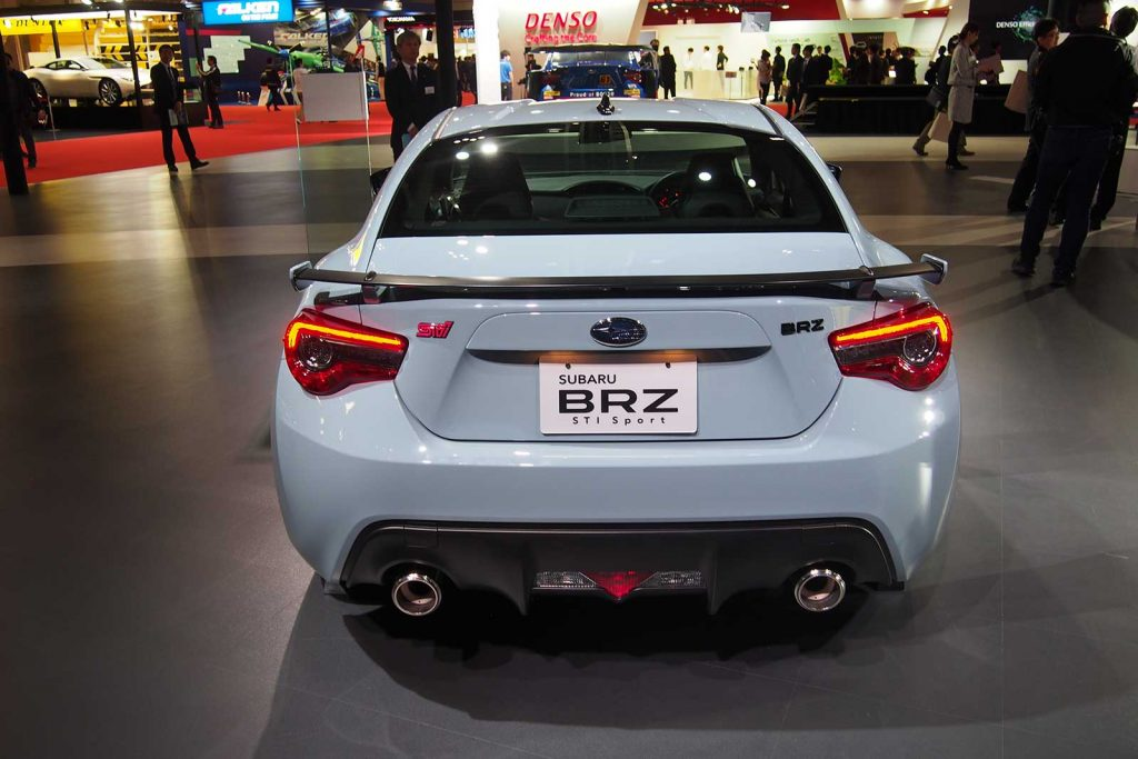 Subaru BRZ STI in Baby Blue Rear Angle with Twin Exhausts