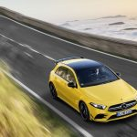 AMG A35 top angle driving mountain road