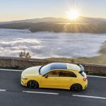 AMG A35 side profile driving mountain road