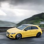 AMG A35 front angle driving mountain road