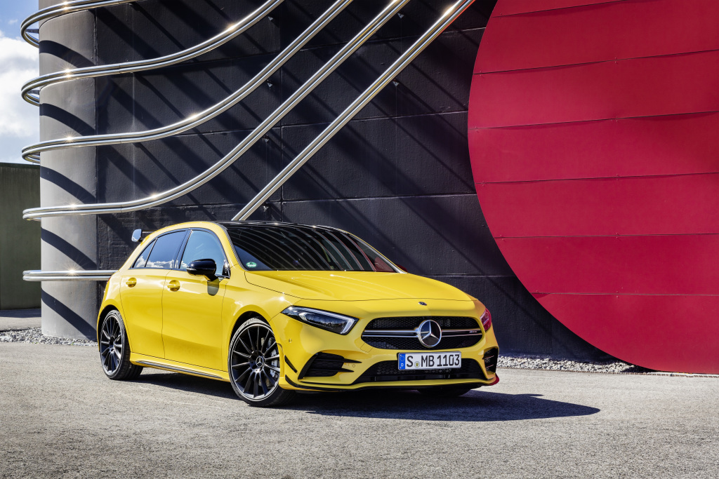 AMG A35 parked against red/black background