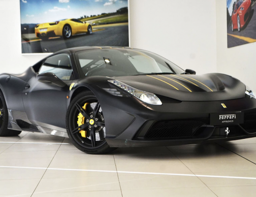 Ferrari 458 Speciale Matte Black Yellow Stripes
