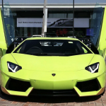 Lamborghini Aventador Miura Homage front with doors open