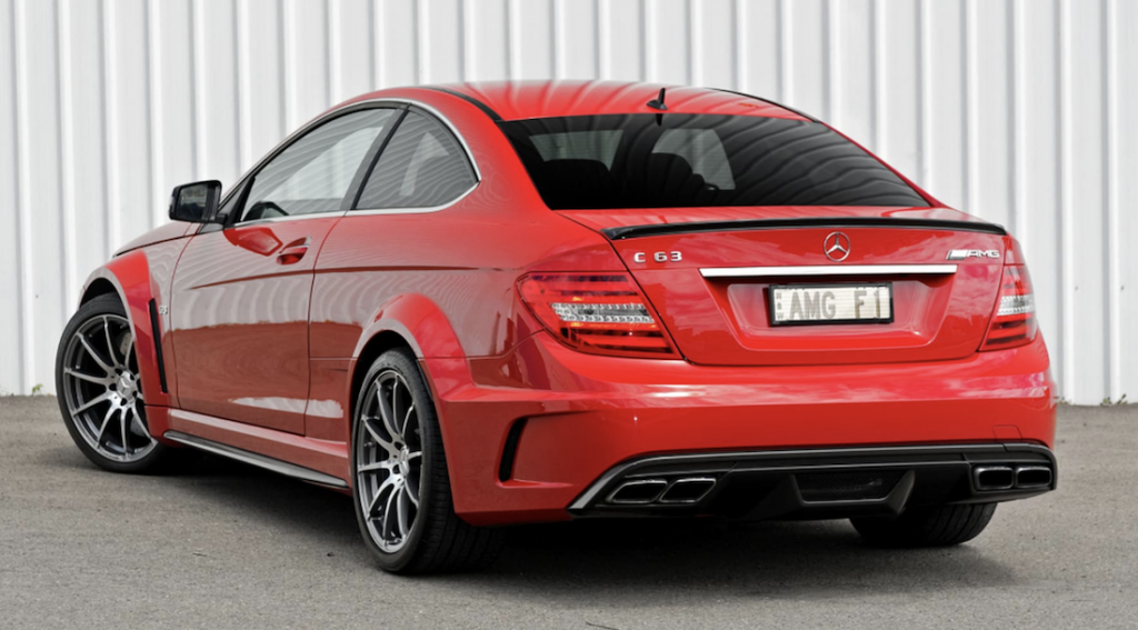 Mercedes C63 Black Edition rear angle
