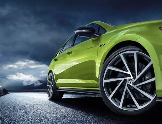 2019 Volkswagen Golf R in Green on wet road